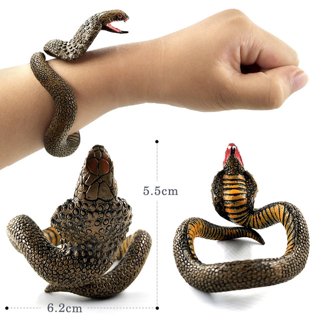 Halloween Children's simulation snake Bracelet Animal model figurine home decor miniature fairy garden decoration accessories 5