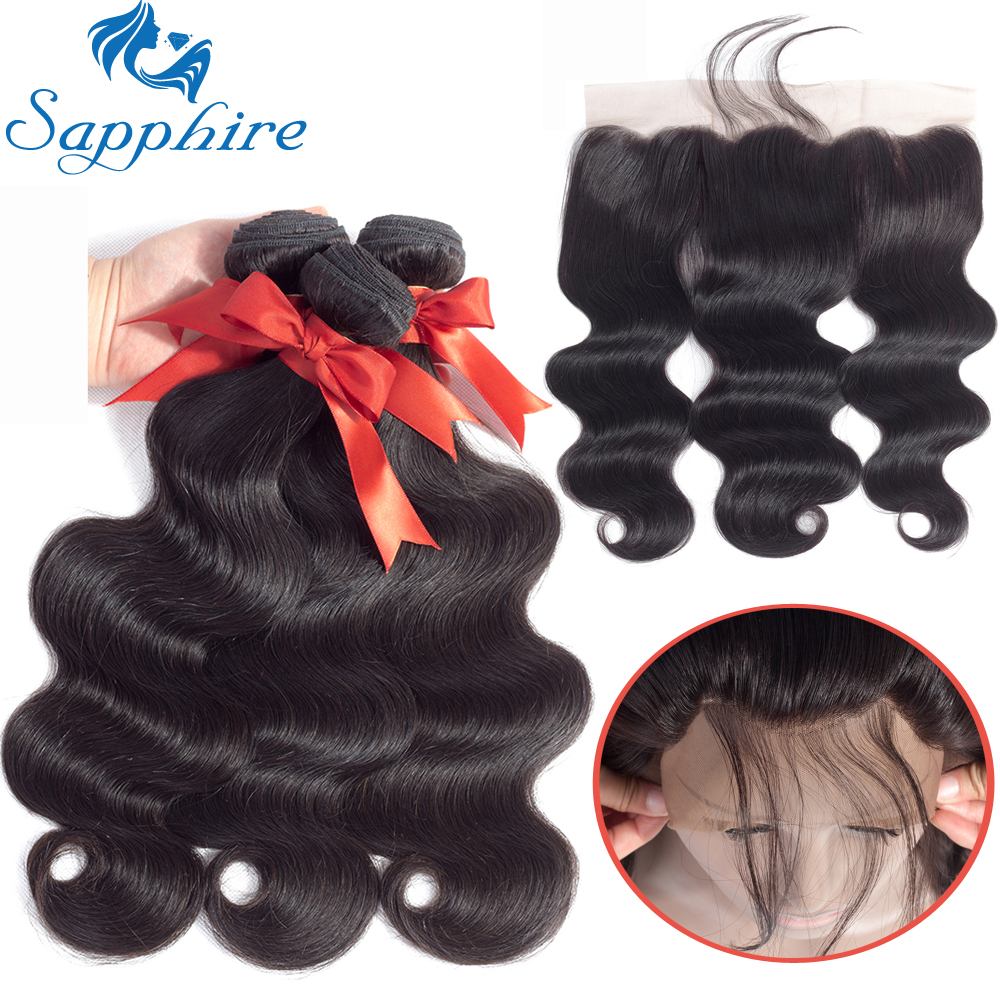 Sapphire Hair 13x4 Lace Frontal Closure With Bundles Brazilian Body Wave Human Hair Bund ...