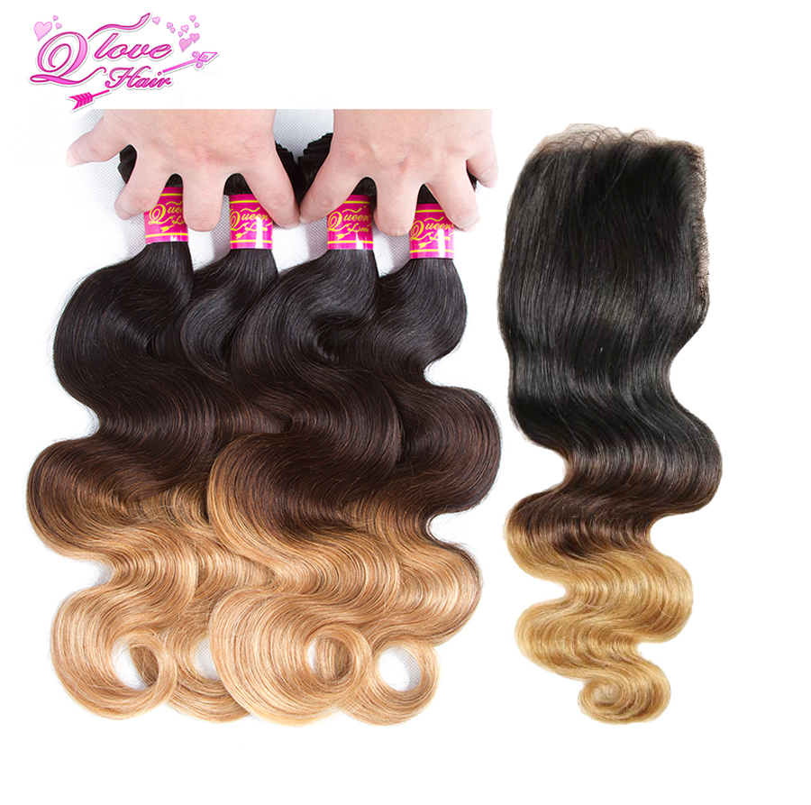 Queen Love Hair Pre-Colored Ombre Brazilian Body Wave Hair 4 Bundles With Closure 1B/4/27 Non Remy Human Hair