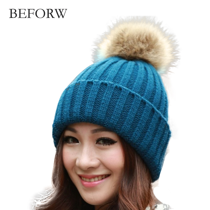 BEFORW Cotton Add Wool Fur Ball Cap Pom Poms Winter Hat For Women Girl 's Hat Beanie For Girls  Knitted Hat Thick Female Cap