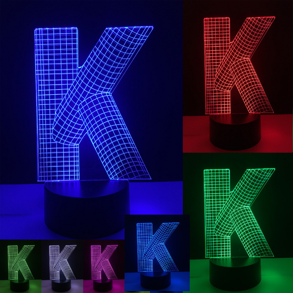 Unique 3D Bulb Alphabet Letter K Lamp 7 Color Changing Gradient Desk Table Led Lighting Home Mall Decor Boys Toy New Year Gifts