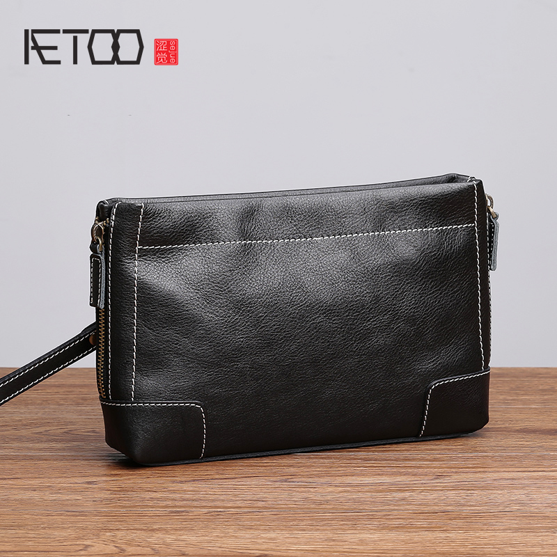 AETOO Handbag mens leather new tide fashion casual envelope Baotou layer cowhide man handbagAETOO Handbag mens leather new tide fashion casual envelope Baotou layer cowhide man handbag