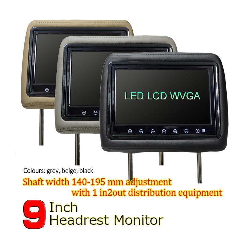 WOWAUTO 9 inch TFT LED Screen Pillow Monitor General Car Headrest Monitor AV1 AV2 Beige Gray