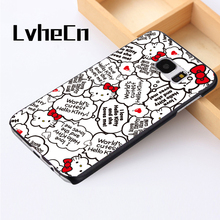 LvheCn phone case cover For Samsung Galaxy S3 S4 S5 mini S6 S7 S8 edge plus Note2 3 4 5 7 8 Hello Kitty Cute Quotes