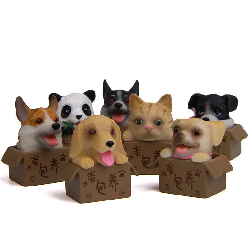 1 Pcs 3 Cm Zoekende Verzorgende Bulldog Giant Panda Siberische Husky Welsh Corgi Figuur Speelgoed Voor Kinderen Kids Kerstmis Speelgoed