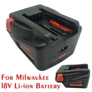 Image 2 - Conversor de adaptador de carga para milwaukee m18 18 v li ion célula para v18 18 v pilha de lítio carregador de telefone sem fio ferramenta de carga usb