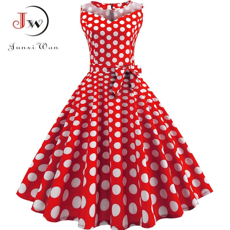 Plus Size Summer Dress Women Polka Dot Sleeveless Sundress Lace Patchwork Retro Swing Rockabilly Elegant Vintage Party Dresses