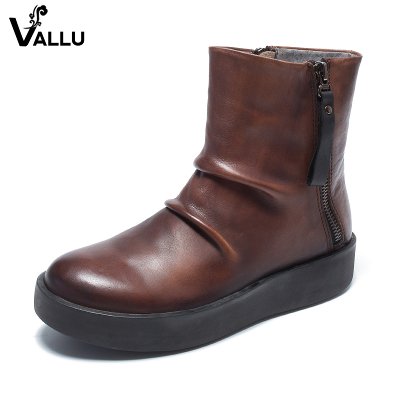 2018 VALLU Double Zipper Women Shoes Ankle Boots Pleated Round Toes Flat Platform Original Genuine Leather Ladies Boots 2018 vallu new leather shoes women ankle boots round toes buckle zipper handamde vintage flat platform ladies boots