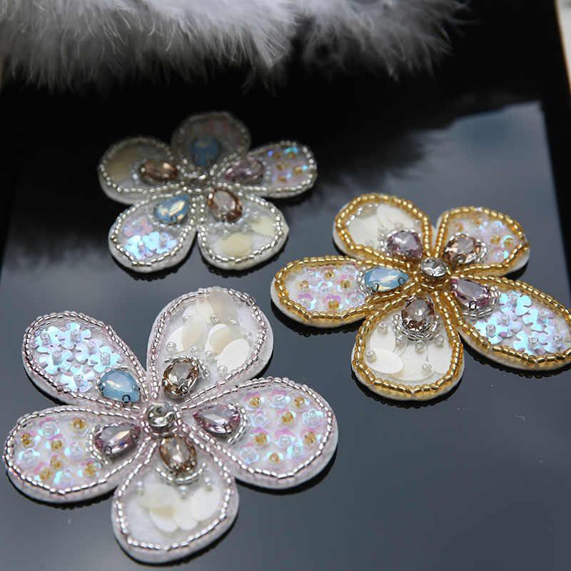Conjunto de 3 flores lentejuelas con cuentas broche parches apliques para bolsos ropa vintage bordado decoración coser en accesorios de parche