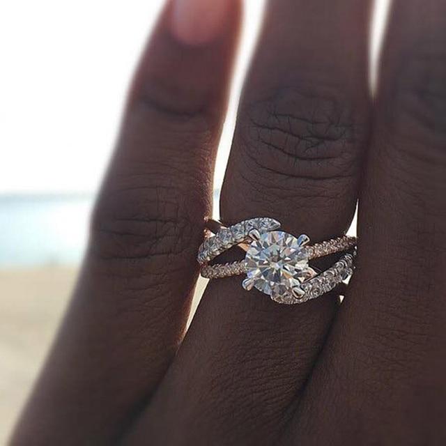 dff43b5eecfe Nuevo anillo de boda de color oro rosa para mujer