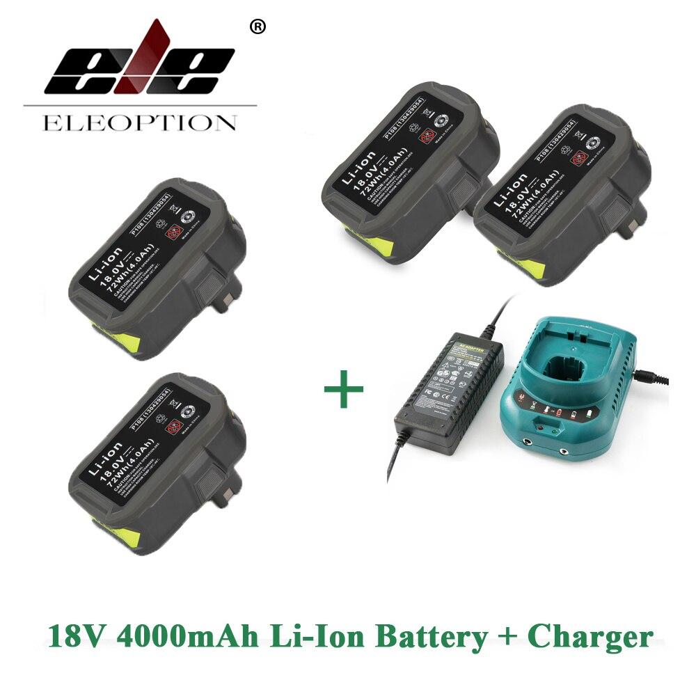 ELEOPTION 4 PCS 18V 4000mAh Li-Ion Rechargeable Battery Power Tool Battery For Ryobi P108 RB18L40 + Charger 12-18V набор bosch ножовка gsa 18v 32 0 601 6a8 102 адаптер gaa 18v 24