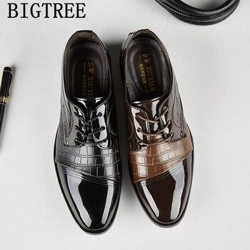 ff619a1c1 Лакированная крокодилья кожа обувь мужские классические оксфорды обувь для  мужчин черный коричневый свадебные туфли мужские офисные мужс.