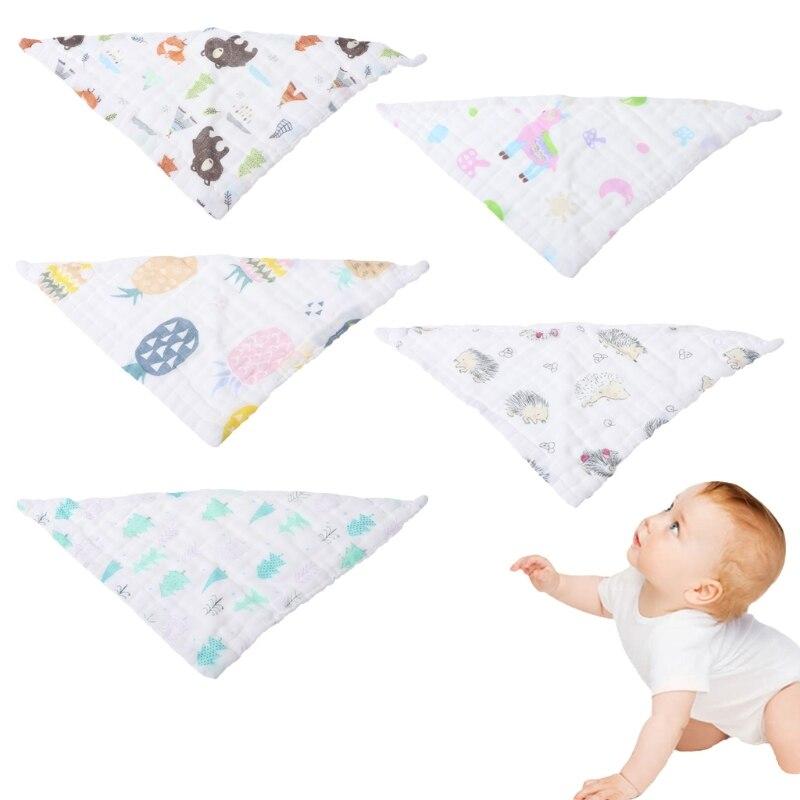 Printing Baby Saliva Napkin Infant Triangle Head scarf Bandana Bibs Feeding Cloth Saliva Towel 6 Layer Gauze Burp Bibs Cloth-M20