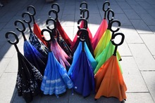 100pcs New long-handle solid color non-automatic two layers inverted umbrellas DHL Fedex Free Shipping