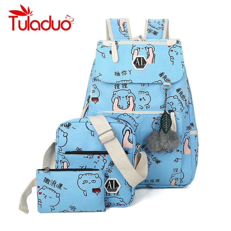 Tuladuo 3 Pcs/set Backpack Female School Bags Cartoon Printing Backpacks Big Laptop Backpack Emoji Crossbody Bags for Women 2018 maison fabre jasmine unisex emoji backpacks 3d printing bags drawstring backpack dec20