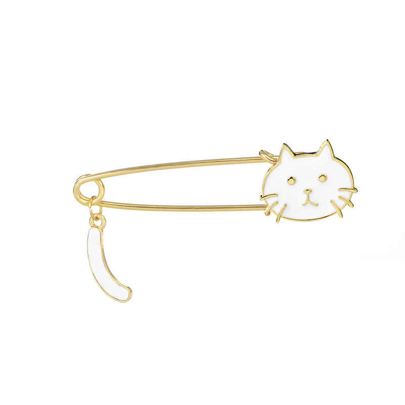 Fashion Cute Kucing Ekor Bros Perhiasan Enamel Jarum Manis Paduan Hewan Rumbai Pin Bros Aksesoris Wanita Hadiah Natal Pin