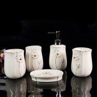 Quality Ceramic Bathroom Set Toothbrush Holder Dispenser Wedding Gifts Toiletries Kit Accessories
