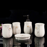 Quality Ceramic Bathroom Set Toothbrush Holder Dispenser Wedding Gifts Toiletries Kit Accessories