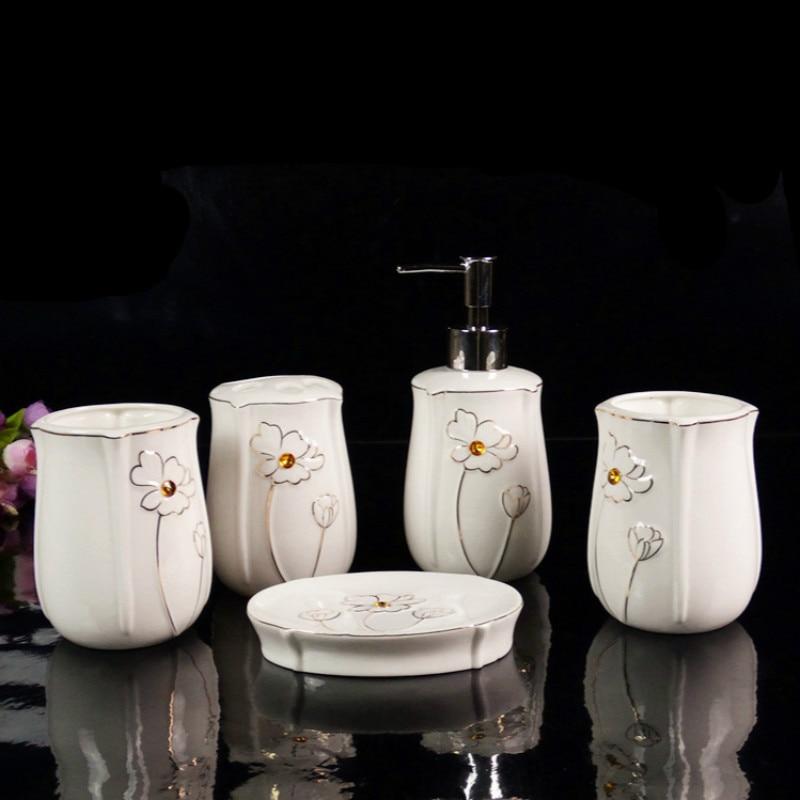 5 pcs set quality ceramic bathroom kit lotus flower for Quality bathroom decor
