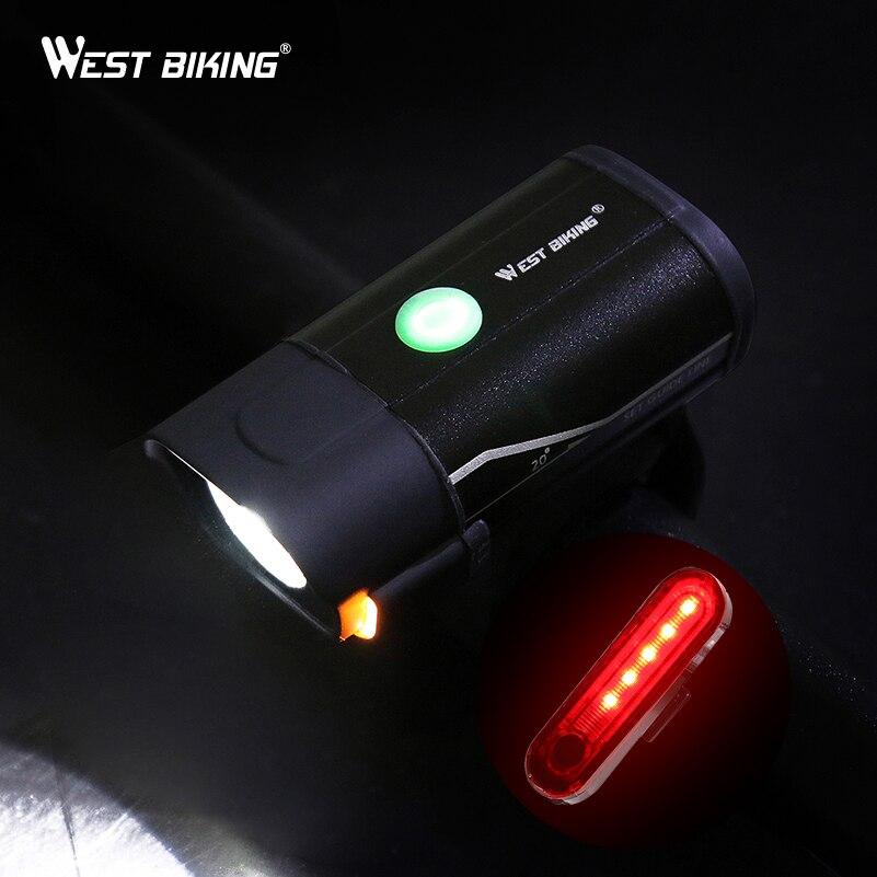 WEST BIKING Bicycle Light L2 LED USB Rechargeable Bike Headlamp 5 Modes Cycling Handlebar Safety Flashlight With Warning Light
