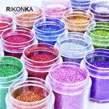 Rikonka 1 Flasche Feine Holographische Glitter Pulver Glänzende Zucker Nagel Glitter Set Pailletten Staub Pulver Nail art Dekorationen 0,2mm