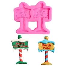 Christmas Road Sign Silicone Cupcake Tools Cake Decoration Baking Mold Lollipop Moule Gateau