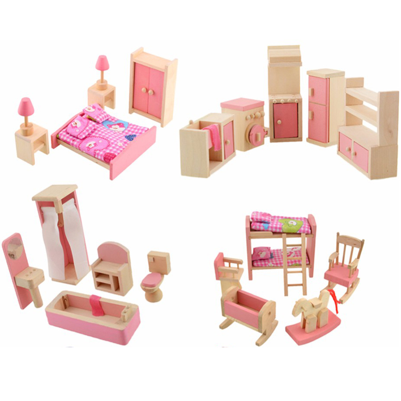 Wooden Mini Furniture Set Kids Pretend Play Toy Cabinet Desk Chair Bed Dollhouse Bedroom