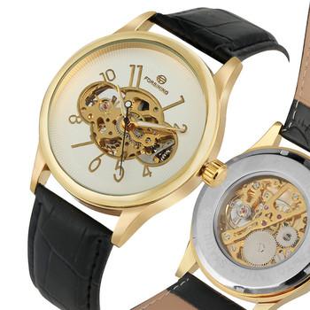 Klasyczna Skeleton opakowanie ze stali nierdzewnej ręcznie winding zegarki mechaniczne dla mężczyzn praktyczne skórzany pasek mechaniczne zegarki na rękę tanie i dobre opinie YISUYA 10Bar Klamra simple Mechaniczna Ręka Wiatr STAINLESS STEEL Odporne na wodę W182901 W182902 ROUND 22mm 14mm Szkło