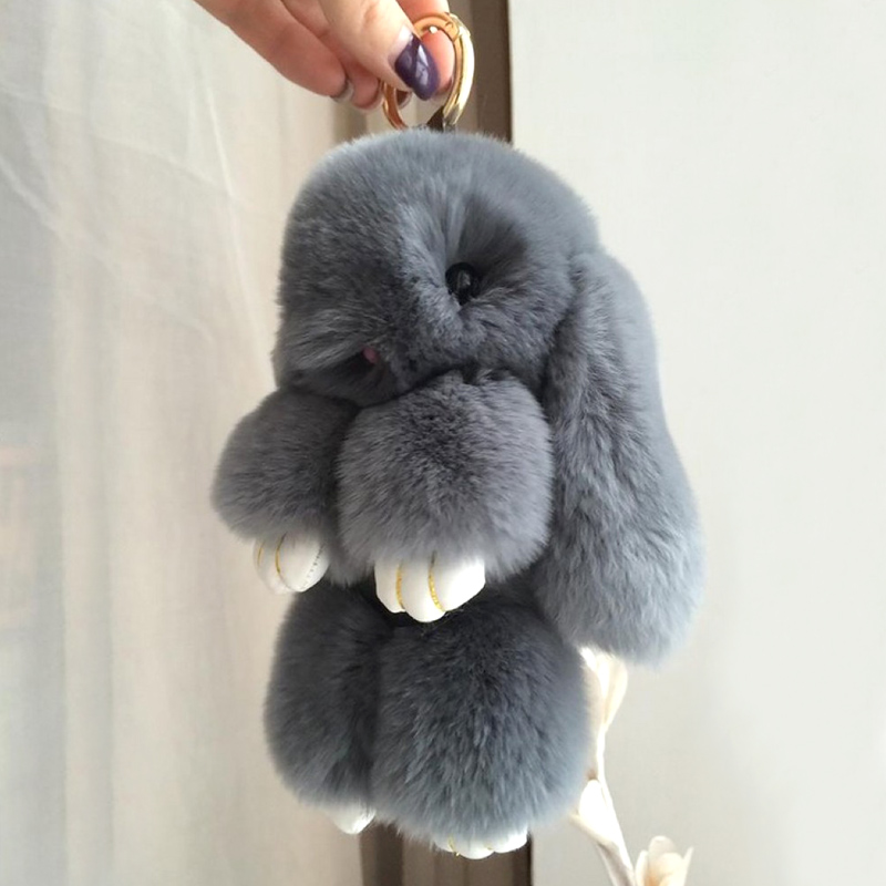 a748648c98b Rabbit Fur Pompom Bunny Keychain Women Trinket Bag Charm Pompon Hare Key  Ring Holder For Phone