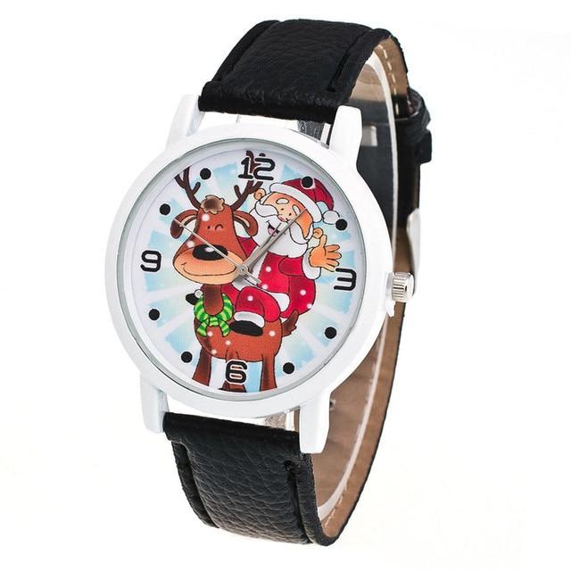 Fashion Men Women Wristwatch Christmas Santa Claus Pattern Watches PU Leather St