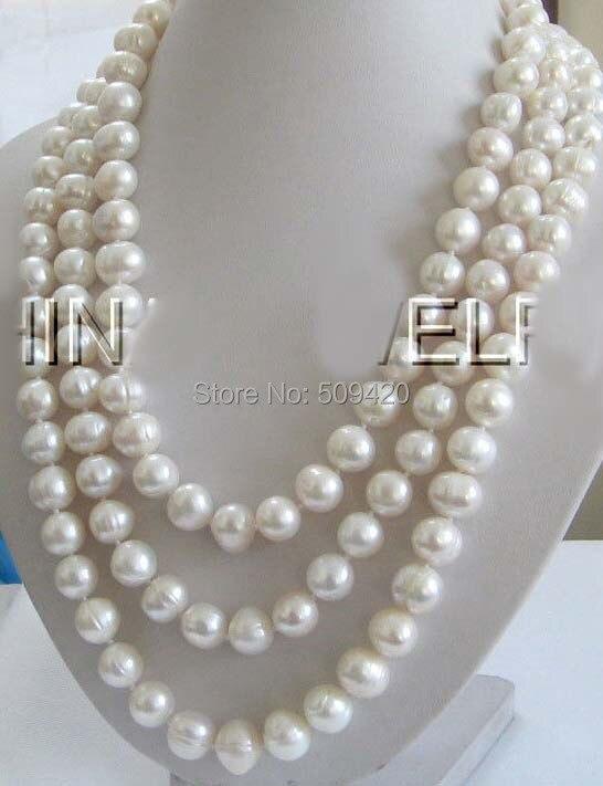 """W и O653 >> > красивая 7"""" 10 мм белый круглый пресной воды жемчужное ожерелье-925"""