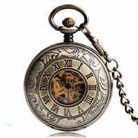 Luxus Bronze Mechanische Taschenuhr Herren Römischen Numberal Steampunk Mechanische Taschenuhr Fob Uhren Kette Relogio De Bolso Geschenk