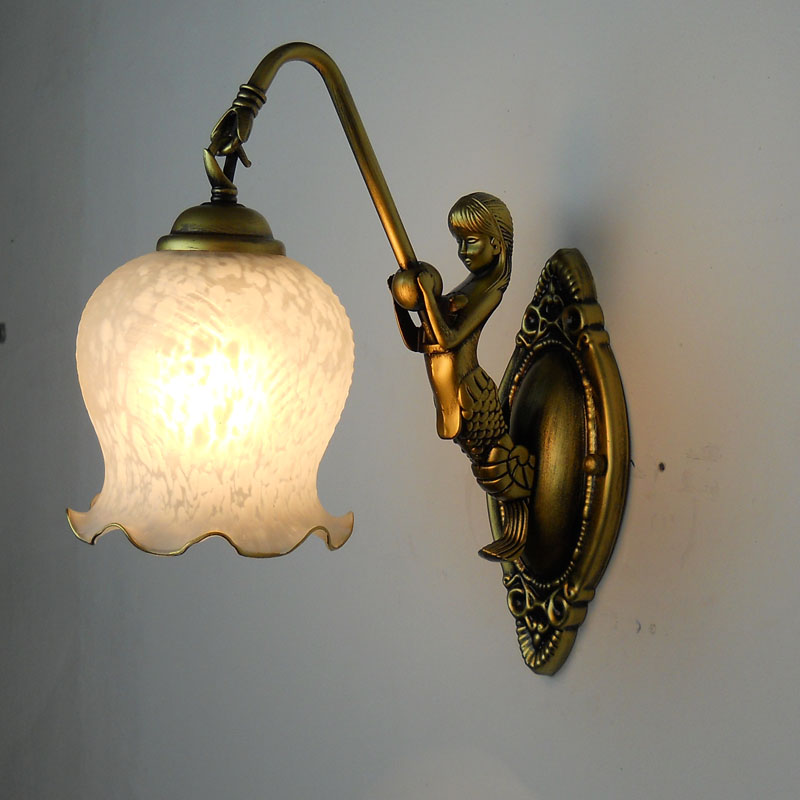 American country vintage wall golden white European iron Mermaid wall lamp bedroom balcony aisle bedside lamp FG347 LU1011 1pcs lot ep3c40q240c8n qfp