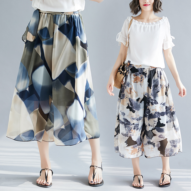0662 Summer Pantalon Femme Floral Printed Beach Chiffon Pants Women Thin Wide Leg Pants Elastic Waist Plus Size Ladies Trousers in Pants amp Capris from Women 39 s Clothing