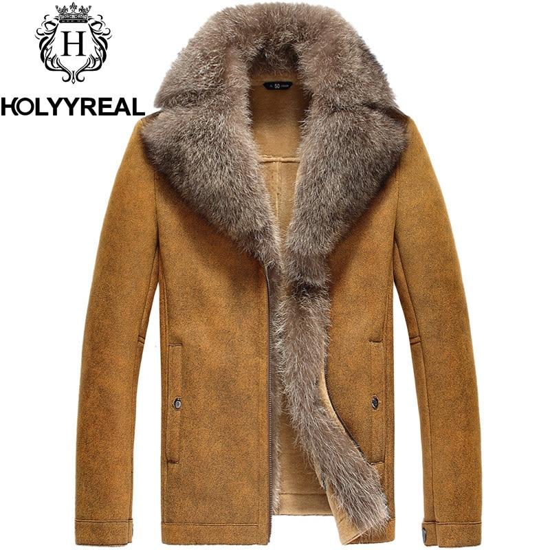 2014 New Men's Fashion Genuine Sheepskin Shearling Coat Double ...