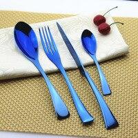 4Pcs Set High Quality Blue Gold Cutlery Set Stainless Steel Western Food Tableware Sets Fork Knife