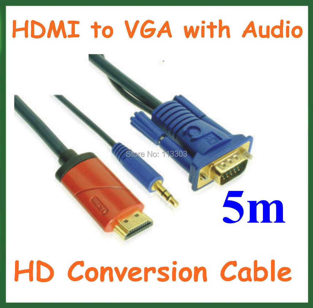 High Quality 5M HD Conversion Cable HDMI Male to VGA Male with 3.5mm Audio Cable HDMI to VGA Video Converter Cable vga to hdmi hd video converter w usb cable black white