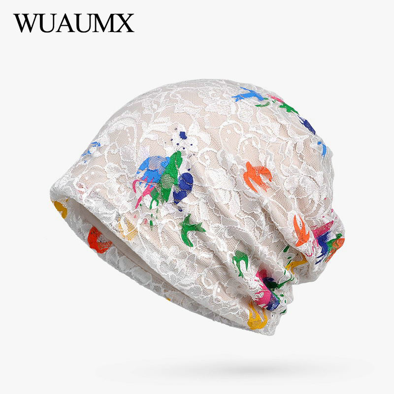 Wuaumx Brand NEW Spring Summer   Beanies   Hats For Women Multicolor Lace Turban Hats Hip Hop Hedging Cap   Skullies     Beanies   Bonnet