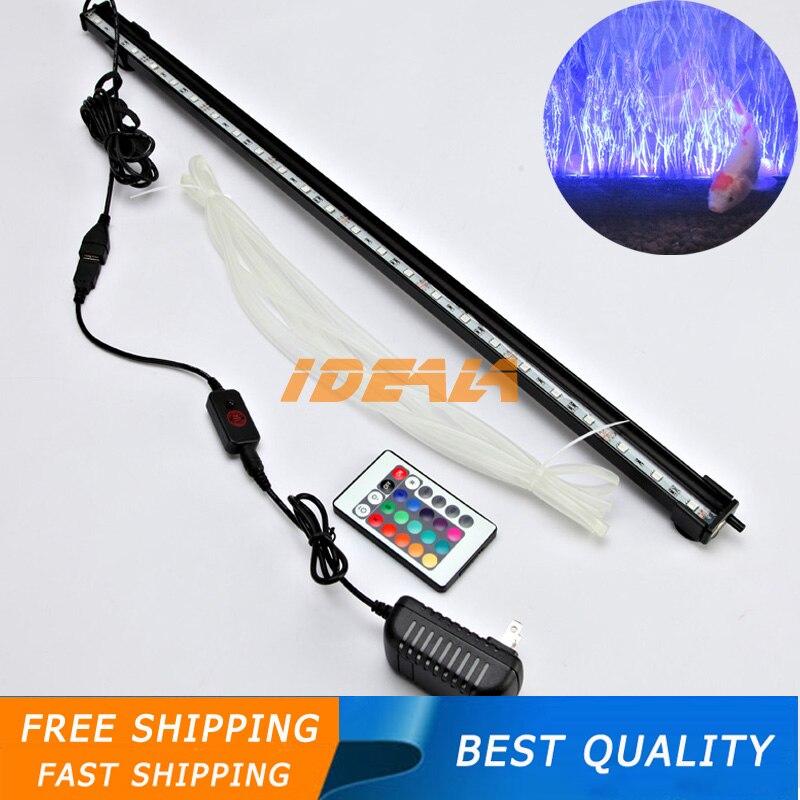 US AU EU Plug Waterproof 60CM 5050 RGB <font><b>LED</b></font> Aquarium Fish Tank Submersible <font><b>Light</b></font> Air Bubble Lamp Remote New