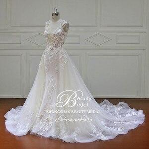 Image 2 - Elegant Detachable Train Wedding Dresses Custom made Lace Pearls Sleeveless Mermaid Wedding Dress  Vestido de Noiva  XF17011