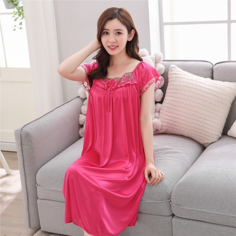Lace nightgowns 2018 Summer sexy lady ice silk long sleep skirt women short  sleeves nightdress Young girl home sleeping clothes-in Nightgowns    Sleepshirts ... 210c43d2a