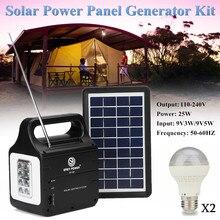 Солнечный Мощность Панель генератора + Солнечный Мощность Панель с 2xled лампы 220 V/3A 25 Вт солнечной зарядки нескольких охраны окружающей среды
