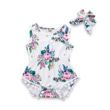 2 Pcs/set Peony Print Pattern Plush Ball Onesies Clothes Hair Band Kids Girls Floral Suits Seaside Style Vacation Children Suit