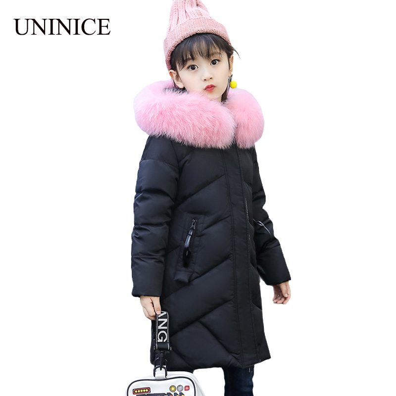 UNINICE 2017 Fashion Girls Winter White Duck Down Jackets Long Kids Fur Collar Thickening Warm Outerwear For Cold Winter Coats 100% white duck down women coat fashion solid hooded fox fur detachable collar winter coats elegant long down coats