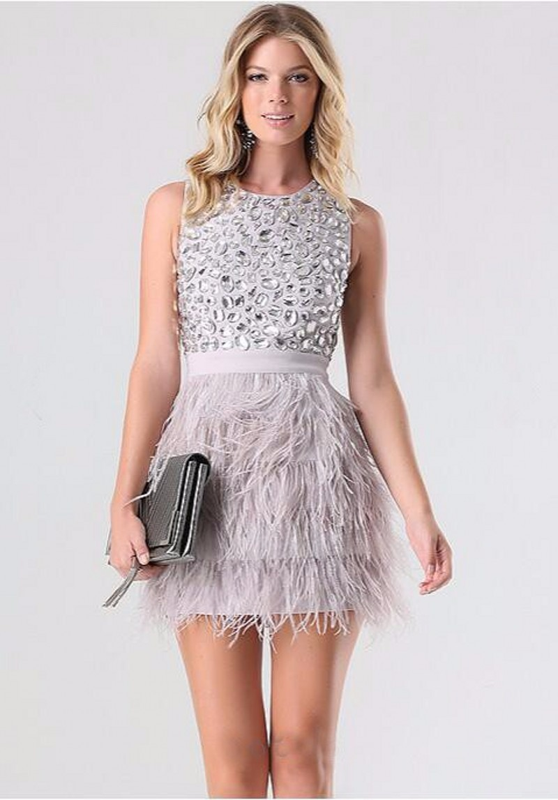 New-Mini-Skirts-Charming-Short-Feathers-Prom-Dress-Sweet-Above-Knee-Crystal-Dinner-Party-Dress-Scoop