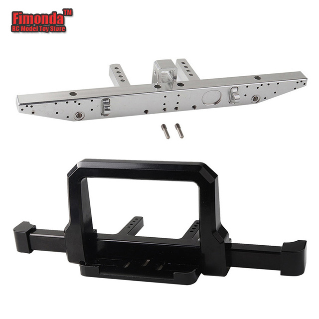 Aluminum Front Bumper Rear Bumper Split-type for TRAXXAS TRX-4 RC Car Upgrade Parts with Screws Trailer Hole Black Silver Color