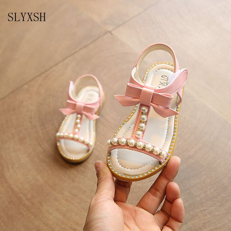 SLYXSH Girls Sandals Princess Korea New 2017 Summer Fashion Sandals Pearl Child Student Baby Beach Flat Shoes Kids