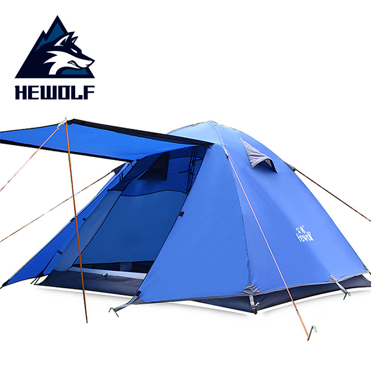 Hewolf 3 4 Person Aluminum Outdoors Tents Double Gate Picnic Four seasons Tent Waterproof Camp Fishing Hunting Adventure Teepee