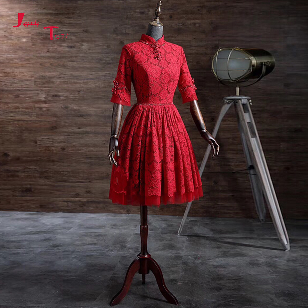 Jark Tozr 2019 New Arrive High Neck Half Sleeve Open Back Knee Length Beading Flowers Lace Party   Cocktail     Dresses   For Girl
