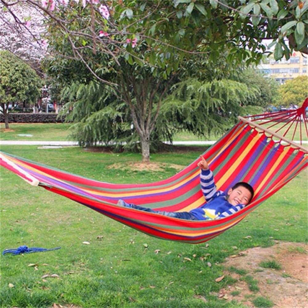Canvas Fabric Double Spreader Bar Hammock Outdoor Camping Swing Hanging Bed FG furniture size hanging sleeping bed parachute nylon fabric outdoor camping hammocks double person portable hammock swing bed